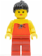 Minifig No: fbr001  Name: Red Halter Top - Red Legs, Black Ponytail Hair