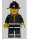 Minifig No: fire005s  Name: Fire - Torso Sticker with 4 Buttons, Black Fire Helmet