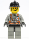 Minifig No: fire008  Name: Fire - City Center 3, Light Gray Legs with Black Hips, Black Fire Helmet