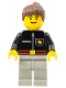 Minifig No: firec012  Name: Fire - Flame Badge and Straight Line, Light Gray Legs, Brown Ponytail Hair
