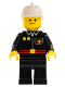 Minifig No: firec022  Name: Fire - Flame Badge and 2 Buttons, Black Legs, White Fire Helmet, Black Legs, Smile
