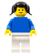 Minifig No: fmf002  Name: Plain Blue Torso with Blue Arms, White Legs, Black Pigtails Hair