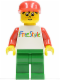 Minifig No: fre001  Name: Freestyle Timmy with Green Legs and Red Hat