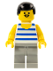Minifig No: fre004  Name: Horizontal Blue/White Stripes, Light Gray Legs, Black Male Hair