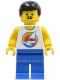 Minifig No: fre005  Name: Surfboard on Ocean - Blue Legs, Black Hair Male, Moustache