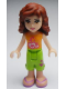 Minifig No: frnd006  Name: Friends Olivia, Lime Cropped Trousers, Orange Top