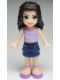 Minifig No: frnd011  Name: Friends Emma, Dark Blue Layered Skirt, Lavender Top