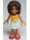 Minifig No: frnd014  Name: Friends Andrea, Light Aqua Layered Skirt, Bright Light Orange Top with Music Notes
