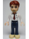 Minifig No: frnd019  Name: Friends Peter, Dark Blue Trousers, White Shirt and Red Tie, Dark Tan Shoes