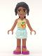 Minifig No: frnd021  Name: Friends Nicole, Light Aqua Layered Skirt, Light Yellow Top