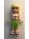 Minifig No: frnd028  Name: Friends Stephanie, Lime Cropped Trousers, White Top