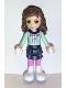Minifig No: frnd030  Name: Friends Olivia, Dark Blue Layered Skirt, Light Aqua Long Sleeve Christmas Top