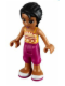 Minifig No: frnd035  Name: Friends Joanna, Magenta Cropped Trousers, Orange Top