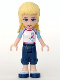 Minifig No: frnd036  Name: Friends Stephanie, Dark Blue Cropped Trousers, White Soccer Jersey