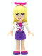 Minifig No: frnd042a  Name: Friends Stephanie, Dark Purple Skirt, Magenta Top with White Jacket, Magenta Bow