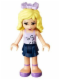 Minifig No: frnd049  Name: Friends Danielle, Dark Blue Layered Skirt, Lavender Top, Bow