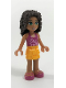 Minifig No: frnd055  Name: Friends Andrea, Bright Light Orange Layered Skirt, Magenta Top