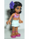 Minifig No: frnd057a  Name: Friends Kate, Light Aqua Layered Skirt, Magenta Bikini Top, Dark Purple Flower