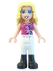 Minifig No: frnd060  Name: Friends Liza, White Riding Pants, Magenta Top