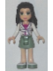 Minifig No: frnd067  Name: Friends Emma, Sand Green Skirt, White Jacket with Bow over Magenta Top