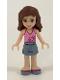Minifig No: frnd079  Name: Friends Olivia, Sand Blue Skirt, Bright Pink Top with Magenta Trim
