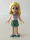 Minifig No: frnd086  Name: Friends Naya, Sand Green Skirt, White Plaid Button Shirt