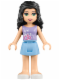 Minifig No: frnd090  Name: Friends Emma, Bright Light Blue Skirt, Lavender Top with Flowers