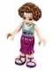 Minifig No: frnd091  Name: Friends Charlotte, Magenta Mid Length Skirt, Sand Green Top