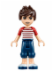Minifig No: frnd093  Name: Friends Noah, Dark Blue Cropped Trousers, Red and White Striped Top
