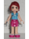 Minifig No: frnd098  Name: Friends Mia, Magenta Layered Skirt, Medium Azure Top with Cross Logo