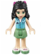 Minifig No: frnd099  Name: Friends Emma, Sand Green Skirt, Medium Azure Top with Cross Logo, Magenta Bow
