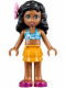 Minifig No: frnd103  Name: Friends Kate, Bright Light Orange Layered Skirt, Dark Azure Bikini Top, Flower
