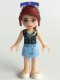 Minifig No: frnd126  Name: Friends Mia, Bright Light Blue Skirt, Dark Blue Vest Top, Sunglasses