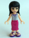 Minifig No: frnd131  Name: Friends Maya, Magenta Mid Length Skirt, White Plaid Button Shirt