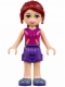 Minifig No: frnd141  Name: Friends Mia, Dark Purple Shorts, Magenta Top with Orange and Dark Purple Stripes