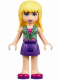 Minifig No: frnd148  Name: Friends Stephanie, Dark Purple Skirt, Sand Green Knotted Blouse Top over Magenta and Pink Striped Shirt