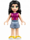 Minifig No: frnd149  Name: Friends Emma, Sand Blue Shorts, Magenta Top with Yellow and Dark Purple Stripes