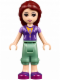 Minifig No: frnd150  Name: Friends Joy, Sand Green Cropped Trousers, Lavender and Dark Purple Vest Top over Bright Light Orange Shirt