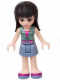 Minifig No: frnd154  Name: Friends Maya, Sand Blue Skirt, Sand Green Knotted Blouse Top