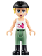Minifig No: frnd157  Name: Friends Stephanie, Sand Green Riding Pants, Black Riding Helmet, Lavender Bow, White Top with Stars