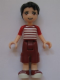 Minifig No: frnd162  Name: Friends Nate, Dark Red Cropped Trousers Large Pockets, Red and White Striped Shirt