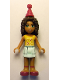 Minifig No: frnd165  Name: Friends Andrea, Light Aqua Layered Skirt, Bright Light Orange Top with Music Notes, Magenta Party Hat