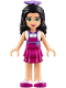 Minifig No: frnd172  Name: Friends Emma, Magenta Layered Skirt, White Top with Magenta Apron, Medium Lavender Flower