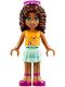 Minifig No: frnd173  Name: Friends Andrea, Light Aqua Layered Skirt, Bright Light Orange Top with Music Notes, Trans-Dark Pink Glasses