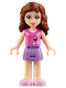 Minifig No: frnd175  Name: Friends Olivia, Medium Lavender Skirt, Dark Pink Top with Hearts and White Undershirt