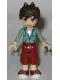 Minifig No: frnd177  Name: Friends Noah, Dark Red Cropped Trousers Large Pockets, Sand Green Hooded Top