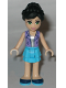 Minifig No: frnd178  Name: Friends Iva, Medium Azure Layered Skirt, Lavender Vest Top
