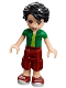 Minifig No: frnd182  Name: Friends Oliver, Dark Red Cropped Trousers Large Pockets, Green Shirt