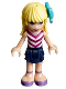 Minifig No: frnd184  Name: Friends Stephanie, Dark Blue Layered Skirt, Magenta and White V-Striped Top, Medium Azure Bow