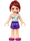 Minifig No: frnd195  Name: Friends Mia, Dark Purple Skirt, White One Shoulder Top with Stars